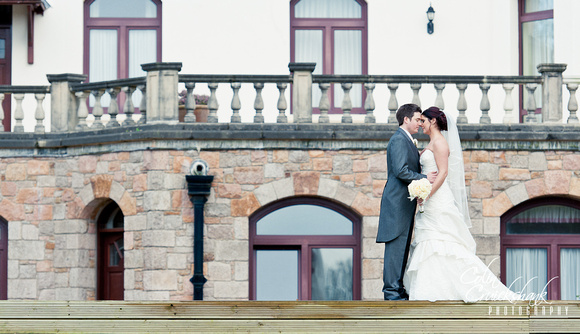 wedding shots in front of Chateau Vermont